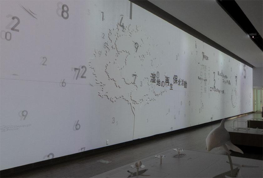 日和山海岸ミュージアムのスクリーン展示