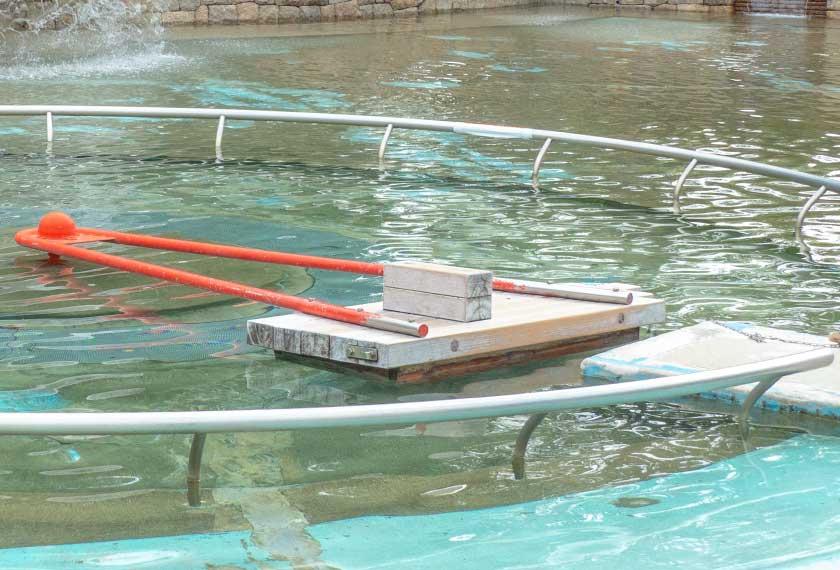 元浜緑地のわんぱく池の手漕ぎイカダ
