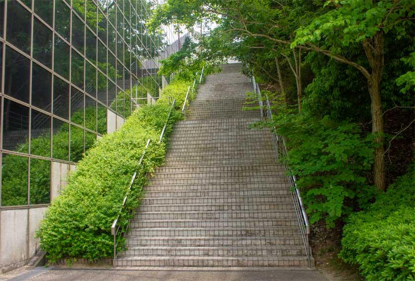 正面玄関へと上がる階段