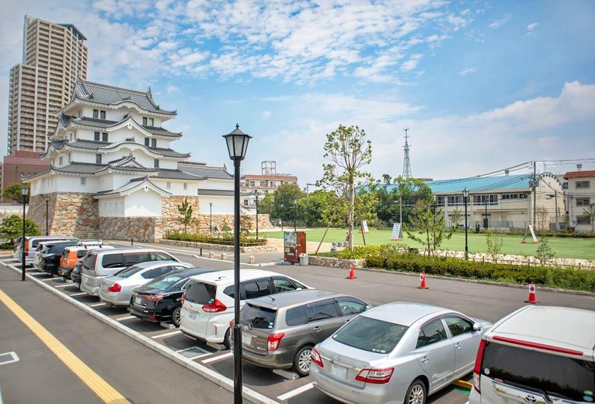 尼崎城の公式駐車場20台